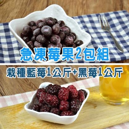 进口急冻莓果-2包组(栽種蓝莓1公斤+黑莓1公斤)