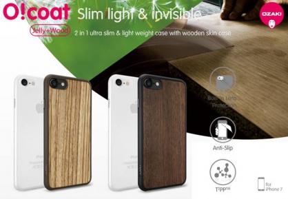 【JC科技小舖】光隆科技授權販售 Ozaki O!coat 0.3 iPhone 7/8 木紋+霧透超薄保護殼2合1