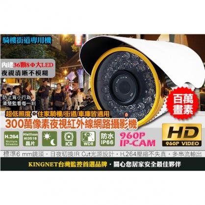 960P 夜視網路攝影機 300萬像素鏡頭 Hi3518 晶片 1280x960 日夜可用 IR CUT 超低照度 25FPS IP CAM