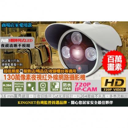 720P 高解析 百萬像素鏡頭 夜視紅外線 網路攝影機 日夜可用 IR CUT 超低照度 陣列式 30FPS IP CAM