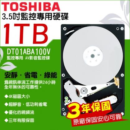 東芝 TOSHIBA 1TB DVR監控硬碟  3.5吋 1000G  SATA 低耗電 24 小時錄影超耐用 遠端監控 監視器材 1TB