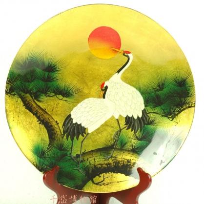 丹頂鶴彩繪供盤-木胎漆器