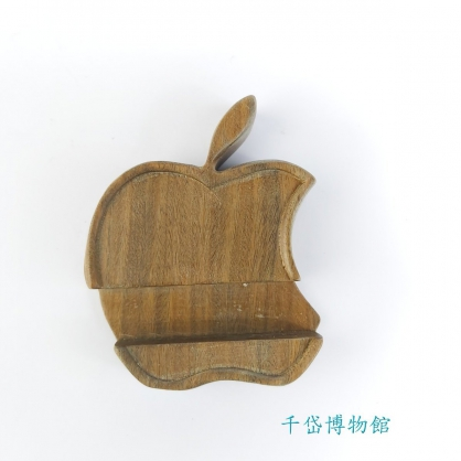 蘋果造型原木手機架-綠檀木