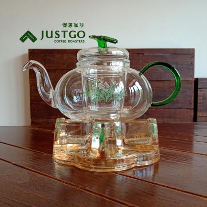 YAMA 綠葉花茶壺、葉型保溫座