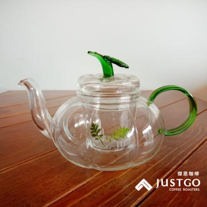 YAMA 綠葉花茶壺 (長嘴南瓜款,600ml)