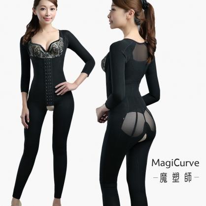【MagiCurve 魔塑師】GE-013 高丹尼雙層一件式塑手臂 塑腰腹連身塑身衣 (腹部抽脂/產後塑身衣)