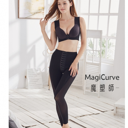 【十月特價 魔塑師】可修改 P-006中腰 高丹尼雙層+單層長束褲 (臀部微笑曲線/ 大腿抽脂)